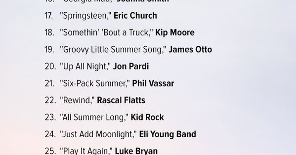 Country songs perfect for Summer! Get the Spotify playlist here!