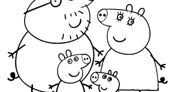 Peppa Pig and Family Coloring Page