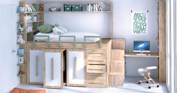 Letto salvaspazio impero young per le camerette di bambini - Camerette bambini legno naturale ...