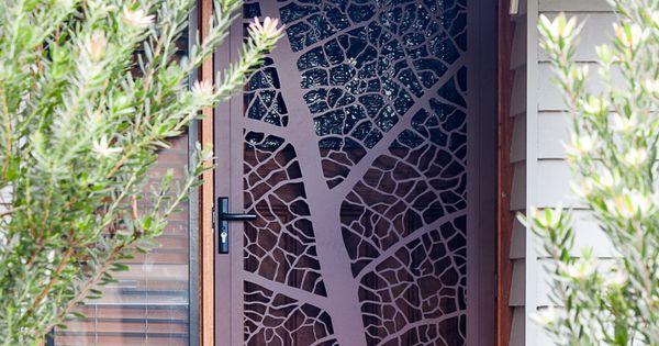 Leaf Vein Security Screen Door By Entanglements Metal Art