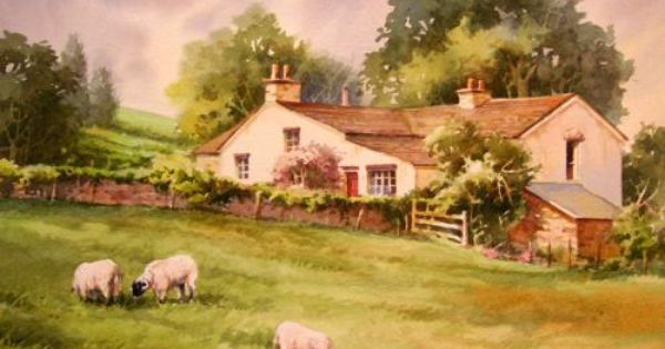 Europe sheep at branthwaite watercolor painting of for Watercolor cottages