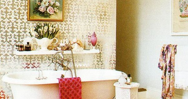 Eclectic styles in this claw foot tub bathroom!