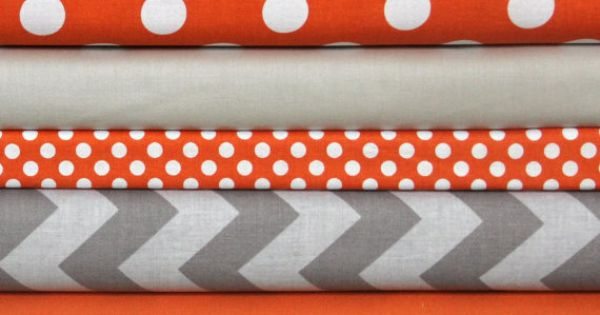 These are so cute! Orange/Gray fabric bundle 1 FQ each of 9