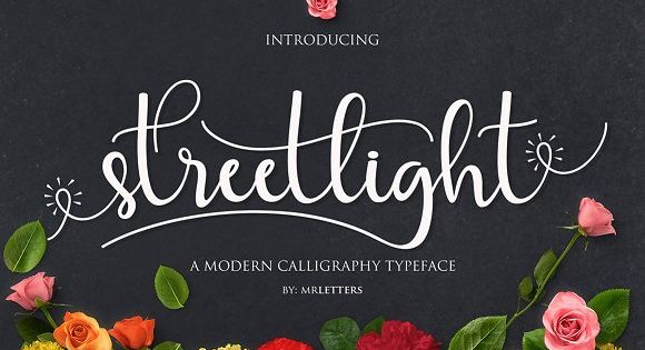 Streetlight Script a new fresh & modern script with a handmade calligraphy style, decorative characters and a dancing baseline