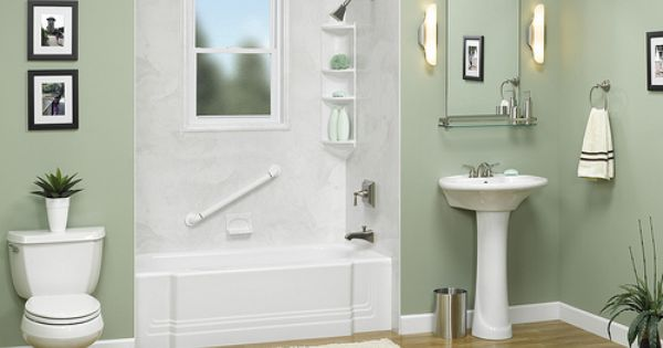 White Classic Tub With Smooth Silver White Wall Surround And Obscure Glass Window Cutout Bathrooms Remodel Shower Walls Surrounds Bathroom Design