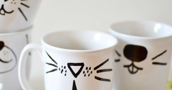 Create your own animal face mugs using only a sharpie mug for Animal face mugs