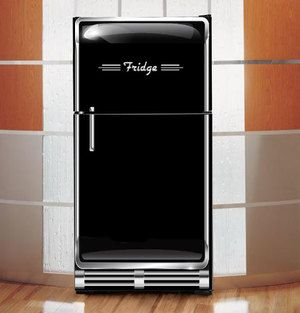 1950 Black Refrigerator Design Wrap Black Refrigerator Refrigerator Wraps Refrigerator Makeover