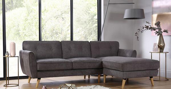 Harlow Slate Grey Fabric L Shape Corner Sofa Rhf With Images Corner Sofa Timeless Furniture Furniture Choice