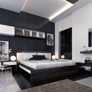 Mens Bedroom Ideas In Minimalist Style With Grey Wall Color And Grey Bedding Masculine Mens Bed White Bedroom Decor White Bedroom Design Black White Bedrooms
