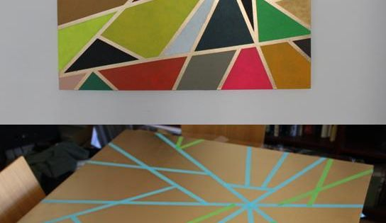 DIY: geometric DIY art masking tape painting tutorial