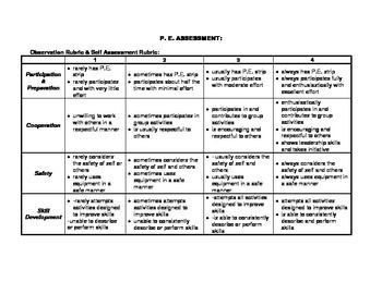 P E Assessment Rubric Assessment Rubric Rubrics Assessment