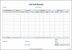 Job Cost Record Template Double Entry Bookkeeping Project Management Templates Job Job Description Template