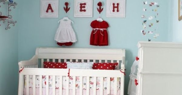 Baby Girl Nursery- Robin's Egg Blue & Red Check out the item