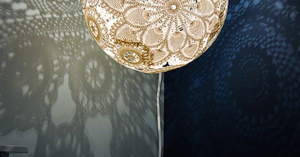 Gorgeous hand made light made with doilies and a for Doily light fixture