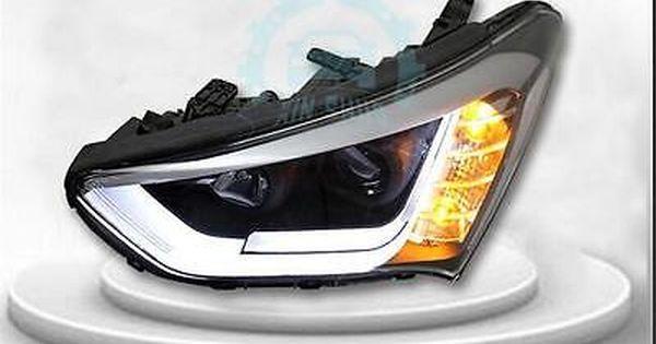 For Hyundai Santa Fe 2013 2015 Led Strip Headlights Front Lamps 1pair Car Lights Led Strip Santa Fe 2013