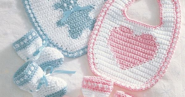 Free baby bib and baby bootie crochet pattern from Bernat ...