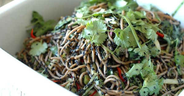 Soba noodle salad with sesame lime dressing | Yum | Pinterest | Soba ...