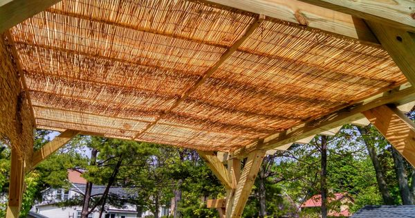 Thin Strips Of Wood 3 Attached To Pergola Top With
