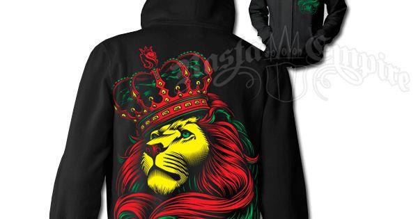 #Rasta Lion And Crown Black Hoodie