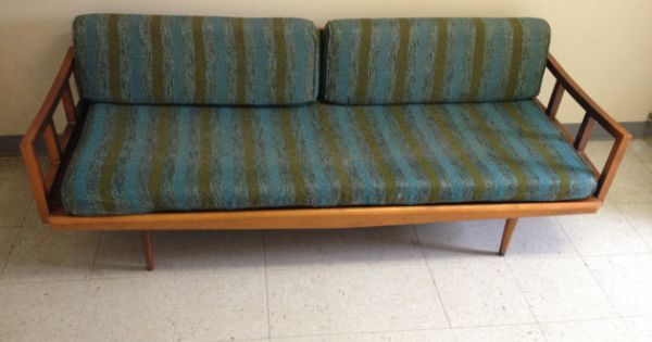 Vintage Mid Century Danish Modern Wood And Cast Iron Sofa Daybed Danishes Vintage And Mid Century