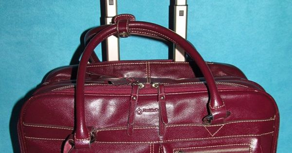 Franklin Covey Red Rolling Bag Leather Laptop Briefcase