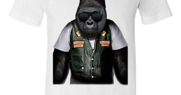Tee Hunt Biker Ape Crew Neck Sweatshirt Gorilla Motorcycle Route 66 Chopper Bobber