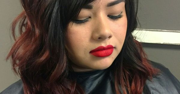 Long Bob With Black To Red Ombre Hair Pinterest Red