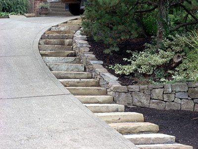 Single Stone Steps By Steep Driveway Outside Pinterest