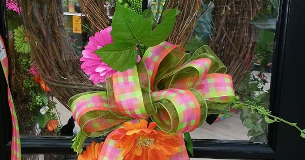 spring colorful wreath custom designed by stauffers of
