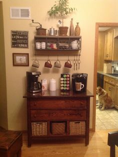 Home Coffee Bar My Husband Made From An Old Dresser Coffee Bar Home Home Bar Furniture Home Coffee Stations