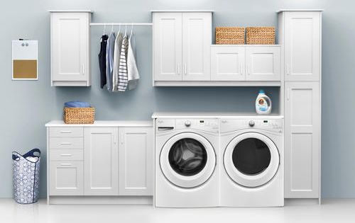 Klearvue Cabinetry Stromma White 9 1 2 Laundry Room Cabinets Only Laundry Room Cabinets Grey Laundry Rooms Utility Room Designs
