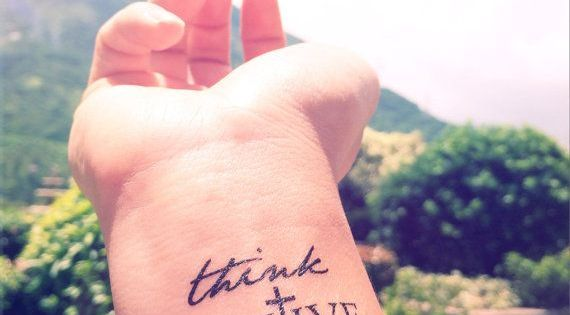 Think positive wrist cute wrist tattoo