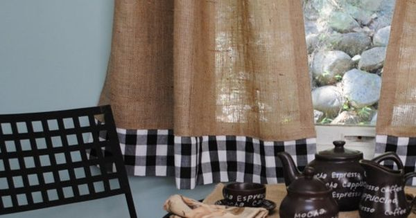 Cafe curtains, Curtains and Burlap on Pinterest