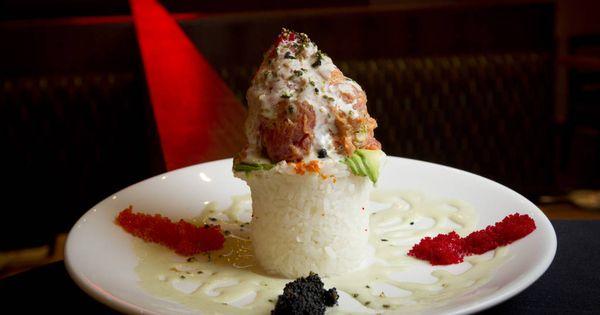Tuna tower from sushi zushi yum deelish pinterest for Blue fish sushi menu