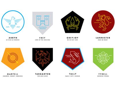 A Song Of Ice And Fire Game Of Thrones Misc House Sigils A