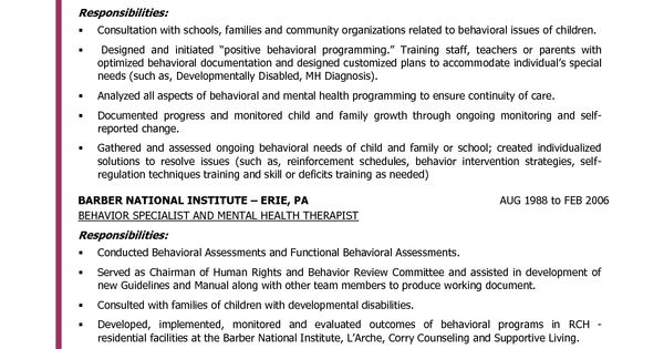 behavior specialist resume search preschool
