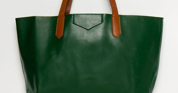 Green! perfect leather tote in ivy.