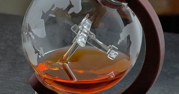 Etched World Globe Whiskey Decanter W Antique Plane