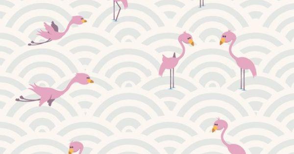 Papier peint flamants roses pour chambre de b b flamants roses flamant et - Papier peint flamant rose ...