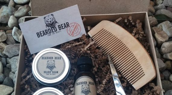 beard grooming kit oil wax balm wood comb scissors all included. Black Bedroom Furniture Sets. Home Design Ideas