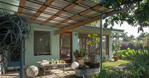 Lovely Nice Corrugated Metal And Wood Awning Over Patio. Dolphin House, Fort  Lauderdale, Florida