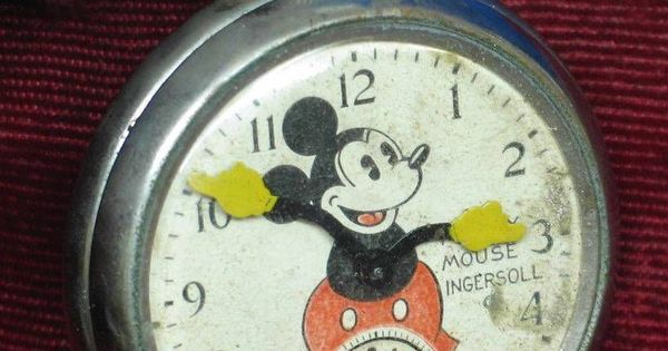 Vintage 1933 Ingersoll Mickey Mouse Pocket Watch Good