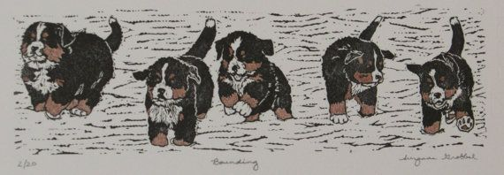 Bernese Mountain Dog Puppies Hand Colored Block Print Limited Etsy Bernese Mountain Dog Bernese Mountain Dog Puppy Mountain Dogs