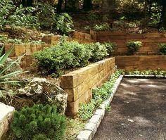 Railroad Tie Hillside Walls Sloped Garden Landscaping With Rocks