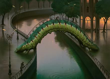 """Fish in The City"" by: Vladimir Kush. I love how the bridge"