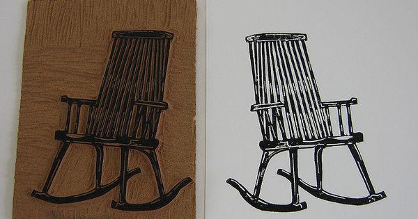Rocking Chair Linoleum Block Print By Nydam Via Flickr Linocut Prints Prints Linoleum Block Printing