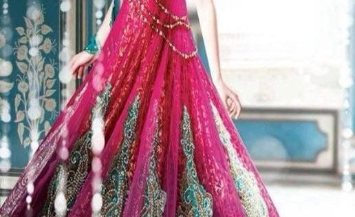Teal and deep rose wedding dresss