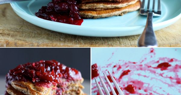 [ Recipe: Dirty Chai Pancakes and Cranberry Vanilla Compote ] Pancakes made