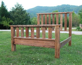 King Red Barn Wood Bed Reclaimed Brown