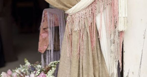 shabby chic curtains | burlap curtains, this length is so shabby chic!